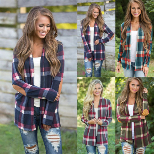 Women Cotton Blend Casual Lapel   Shirt   Plaid Check Flannel   Shirt   Top   Blouse   S-XXL