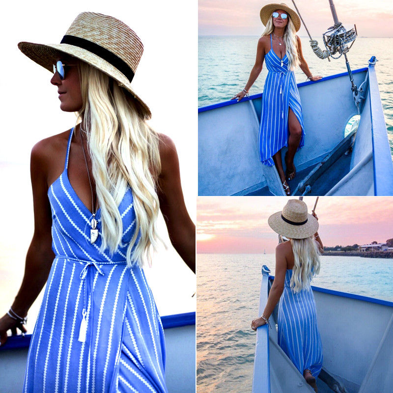 Newly Summer Fashion Bohemian Dress Blue Striped Sashes Sleeveless Deep V-Neck High Waist Ankle-Length Dress Sundress