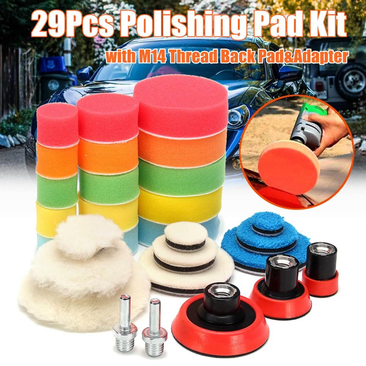 29 pçs almofada de polimento no disco de polimento almofada de polimento de 1-3 polegada carro automático almofada de polimento para polidor de carro + broca adaptador m14 ferramenta elétrica