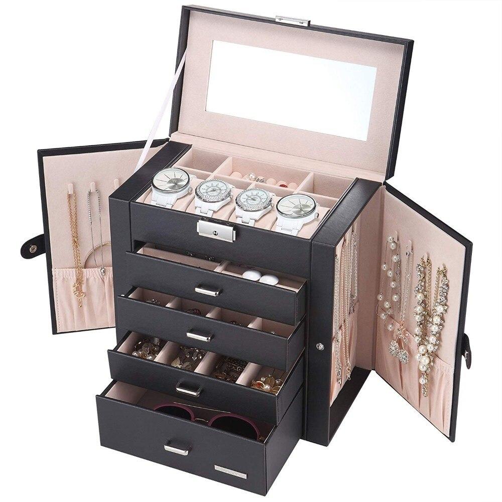 5/6 couches grande boîte à bijoux montre boîtier perles boucle d'oreille anneau bijoux Armoire mallette de rangement en cuir bibelot organisateur avec miroir