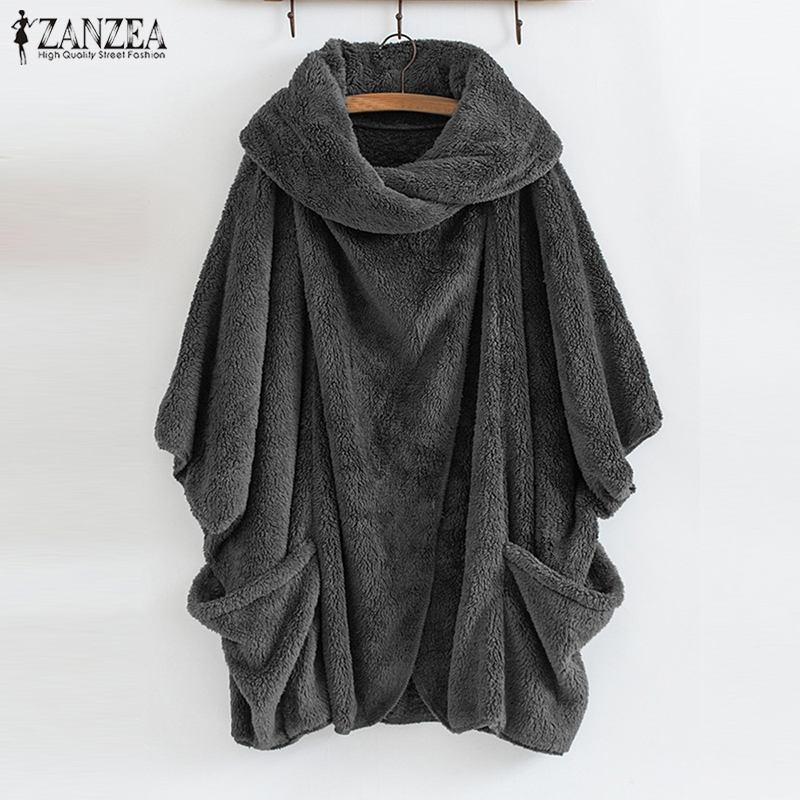 ZANZEA Winter Warm Fluffy Coat Women Batwing Sleeve Jacket Plus Size Female Button Outwear Poncho Solid Cardigan Party Casaco