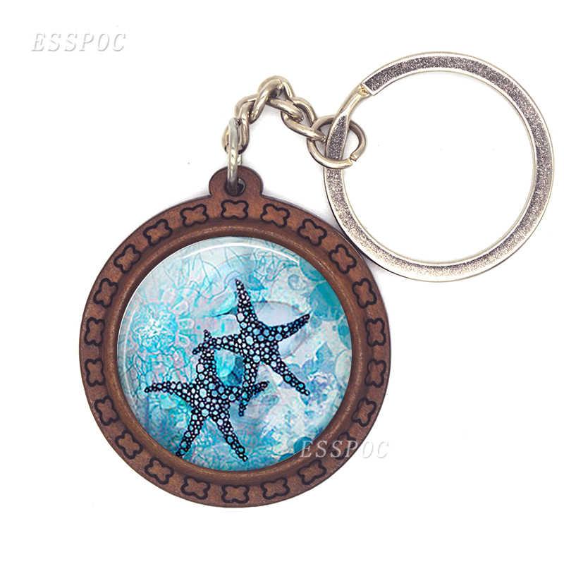 Rùa biển Cá Heo Vỏ Sò Keychain Gỗ Glass Cabochon Đồ Trang Sức Phụ Nữ Người Đàn Ông Xe Mặt Dây Chuyền Đại Dương Lưu Niệm Móc Chìa Khóa Vòng Chuỗi Quà