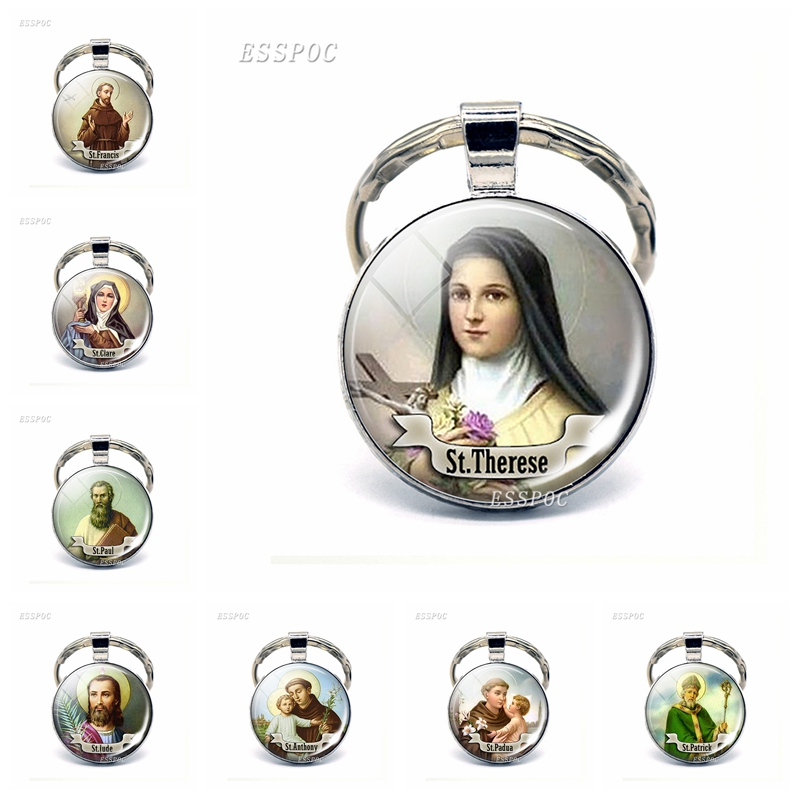 ST THERESE Keychain Religious Medal Saint Christian Keyring St Therese Gift Jewelry Religious Cabochon Religious Key Ring Chain