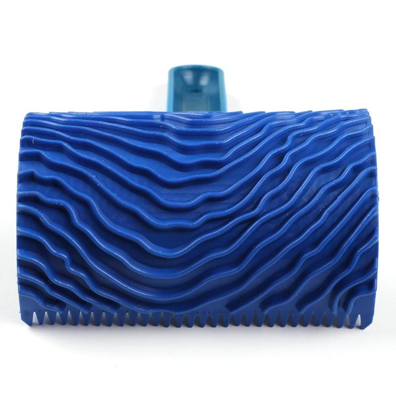 Blue Rubber Wood Grain Paint Roller DIY Graining Painting Tool Wood Grain Pattern Wall Painting Roller with Handle Home Tool-3