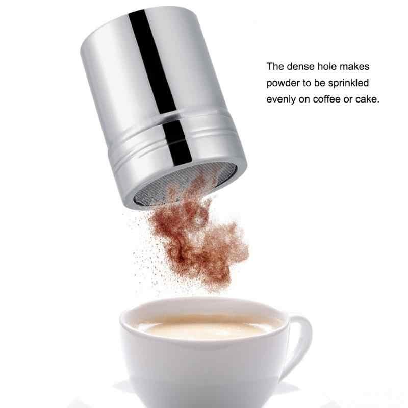 Edelstahl Kakaopulver Shaker Mesh Shaker Pulver Dosen Kaffee mit Deckel Schokolade Puderzucker Shaker Sichter