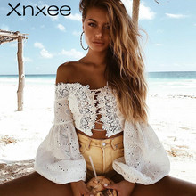 Xnxee White Lace Sexy Blouse Off Shoulder Beach Summer Crop Top Hollow Out Female Blusa  2019 off shoulder cut out floral blouse