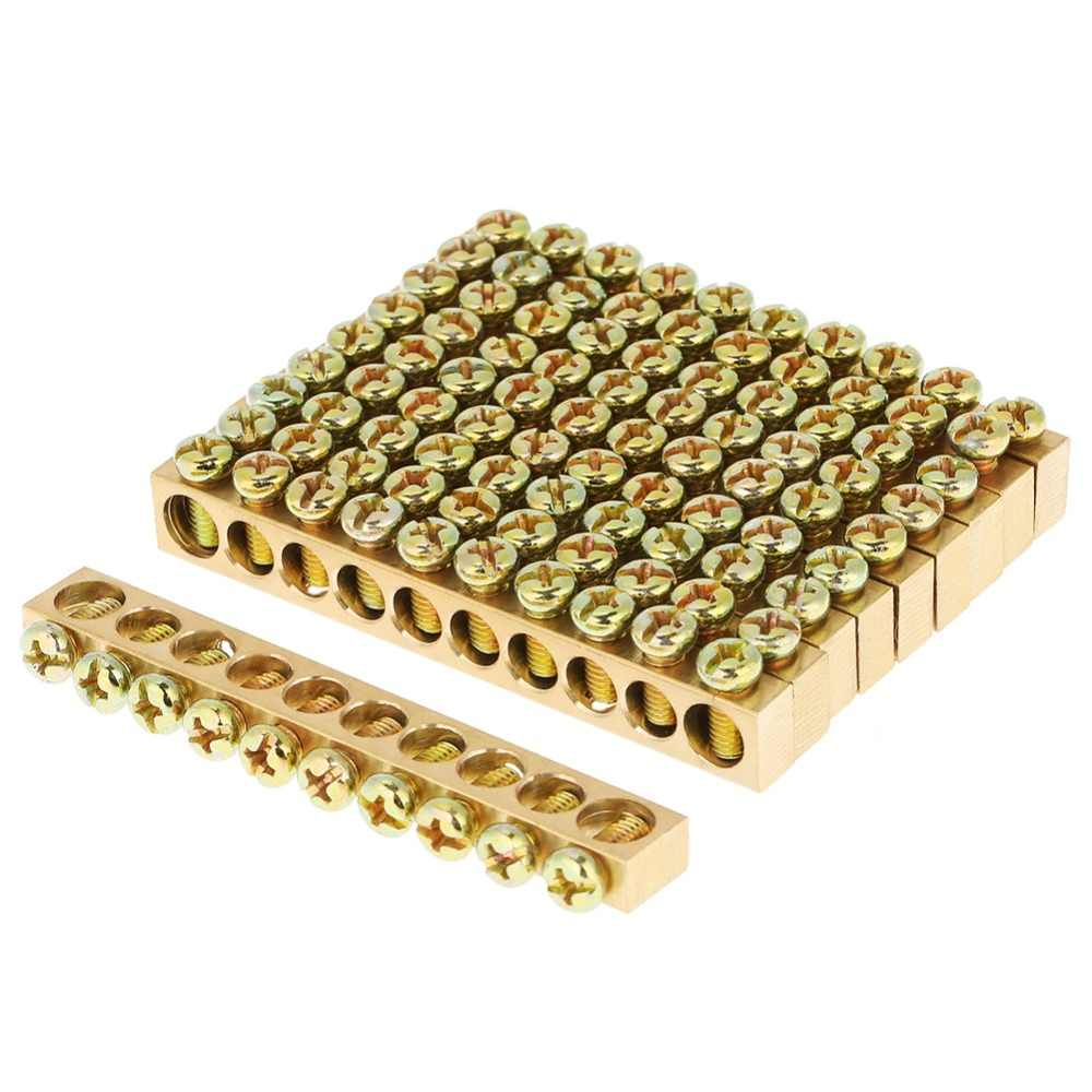 10pcs 10-Hole Electrical Distribution Wire Screw Terminal Brass Ground Neutral Bar High Quality