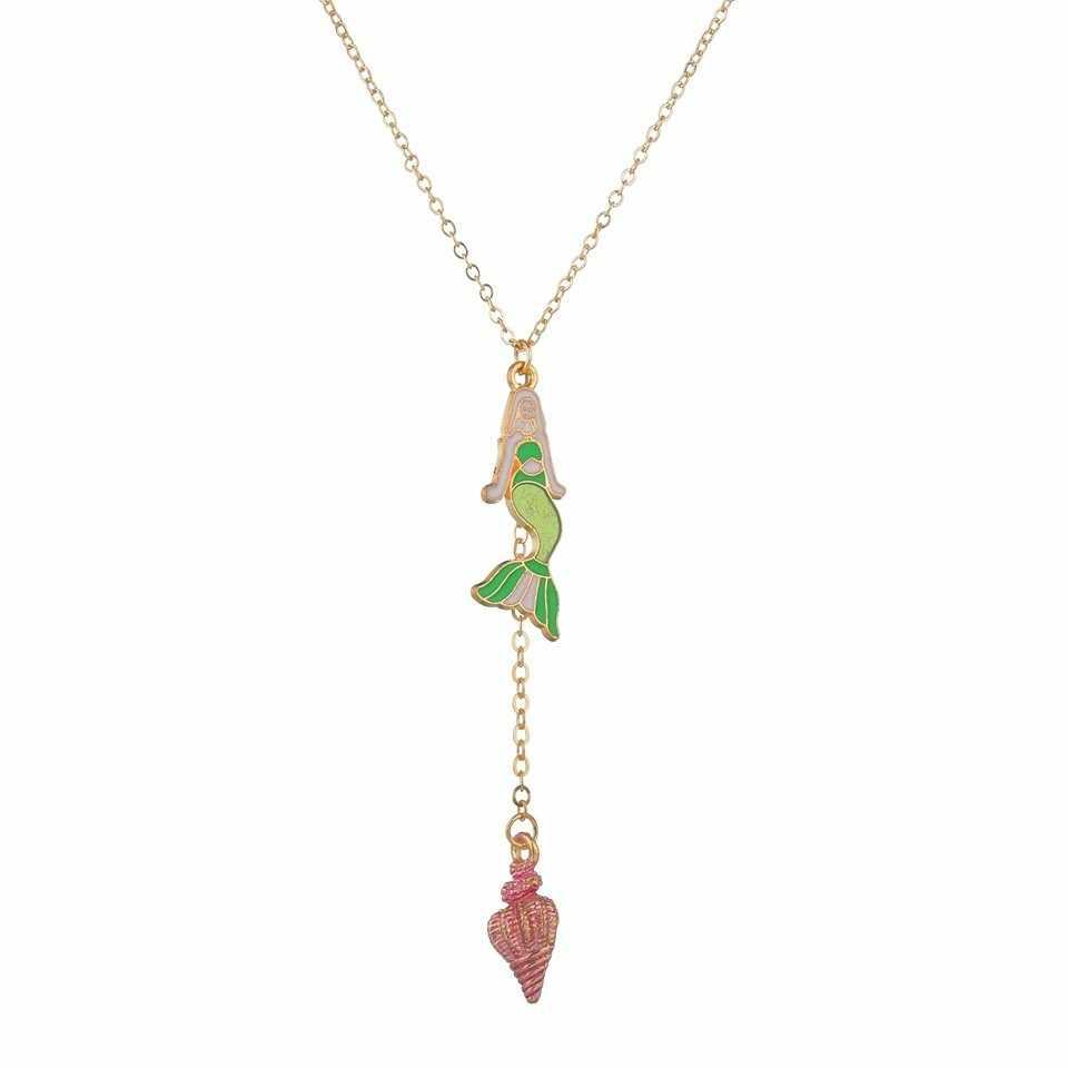 ยอดนิยมสีม่วงไข่มุกน่ารัก Mermaid Tail จี้สร้อยคอสำหรับสาวของขวัญ Disney การ์ตูน Fairy จี้แฟชั่น
