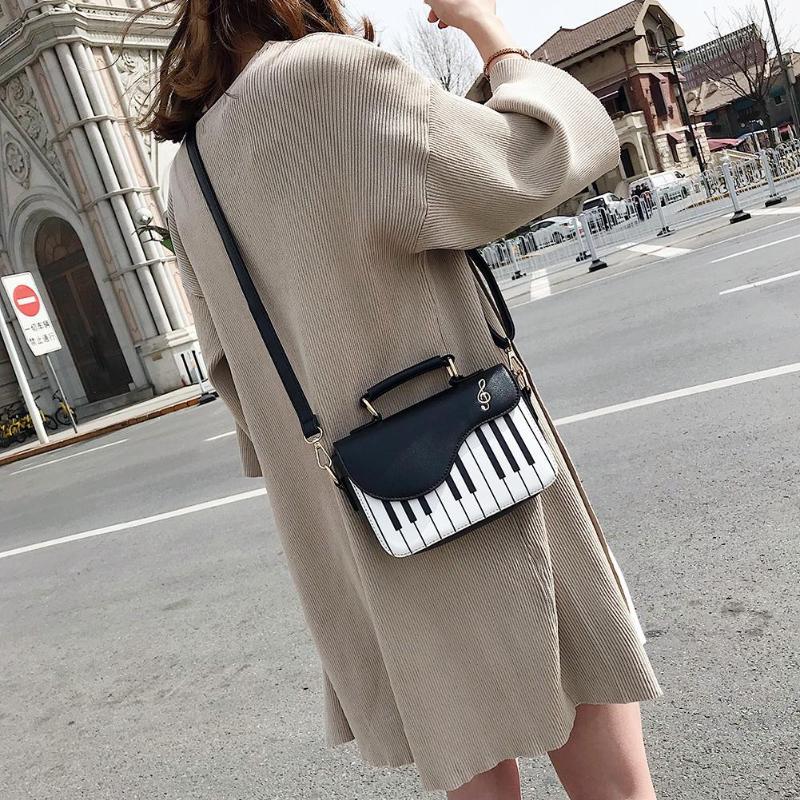 Bonito padrão de piano moda couro do plutônio casual senhoras bolsa de ombro crossbody bolsa mensageiro bolsa totes feminino flap z80