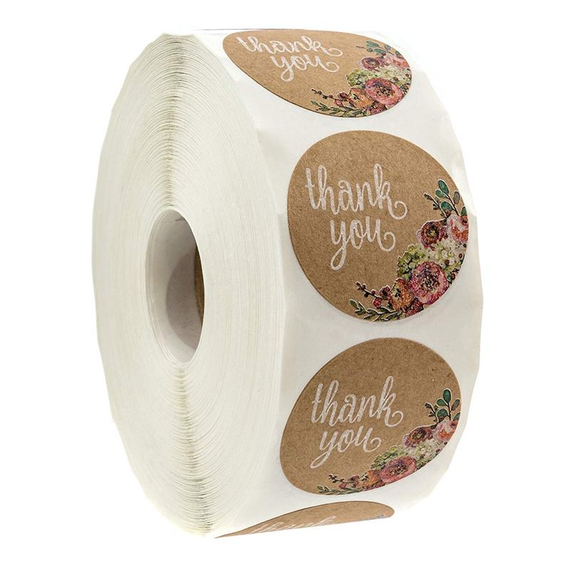 Kraft Floral Thank You Stickers - 1 Inch Circle Labels / 500 Per Pack