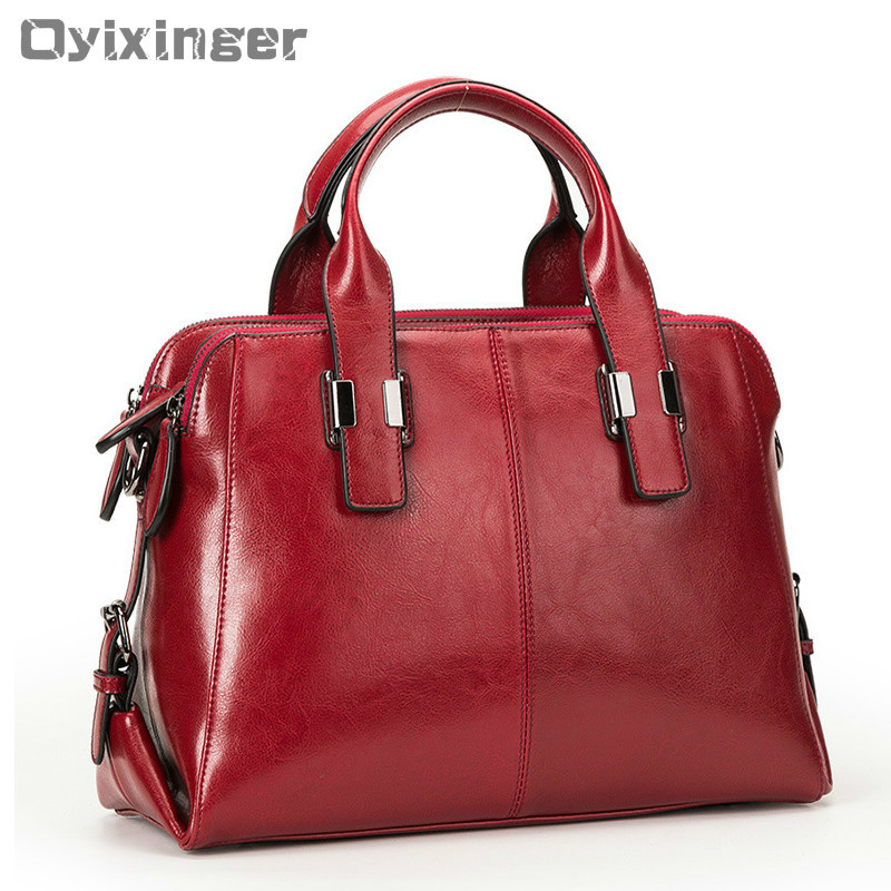 Cuir véritable femmes fourre-tout sacs à Main de luxe Double fermeture à glissière conception dames sacs à bandoulière Designer véritable peau de vache Sac à Main Sac à Main