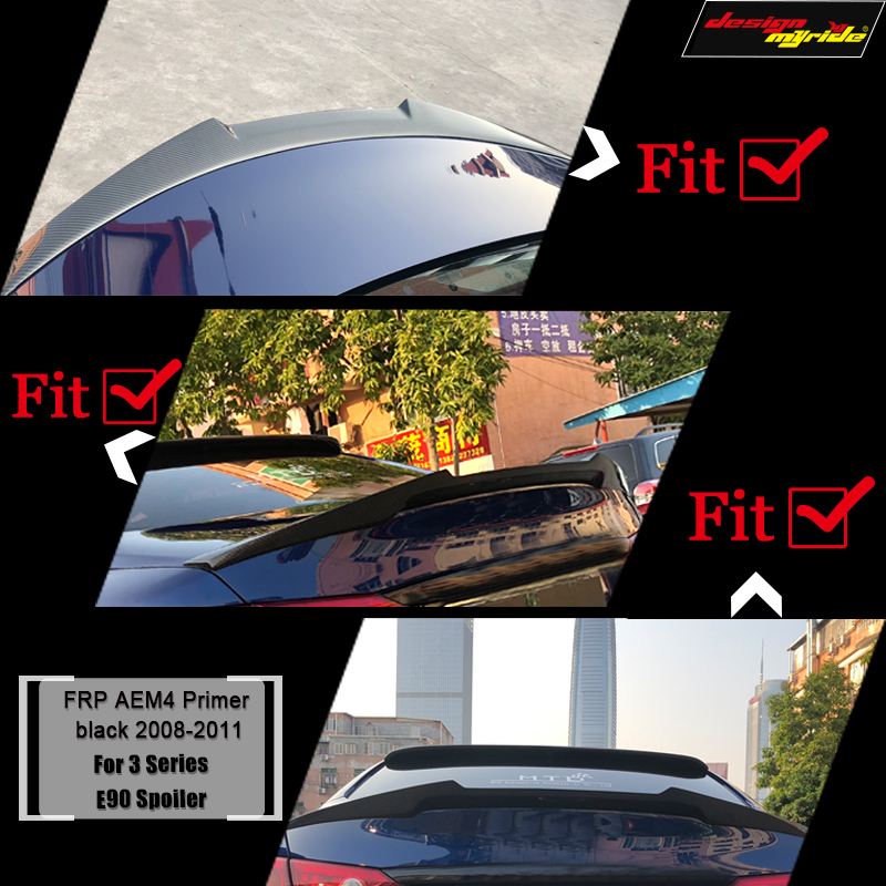 E90 Spoiler Rear Diffuser Trunk Lip Wing M4 Style FRP Primer black for BMW E90 320i 325i 330i 335i 320d 325d Trunk Spoiler 05 11-in Spoilers & Wings from Automobiles & Motorcycles    2