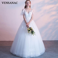 VENSANAC 2018 V Neck Lace Appliques Ball Gown Wedding Dresses Illusion Short Sleeve Bow Sash Backless Bridal Gowns