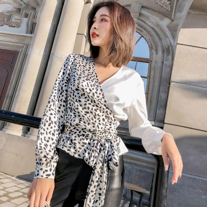 Print Leopard Shirts Blouse Women V Neck Long Sleeve Bandage Patchwork Tops Female 2019 Spring Korean Fashion L490