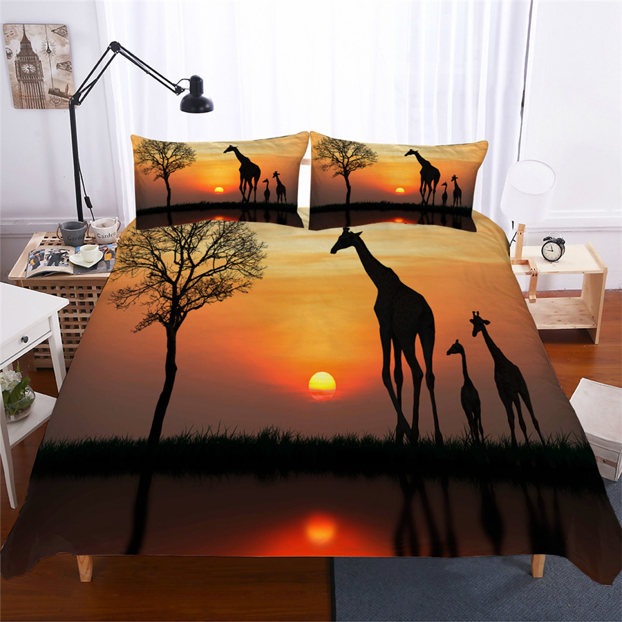Bedding Set 3D Printed Duvet Cover Bed Set Giraffe Home Textiles for Adults Lifelike Bedclothes with Pillowcase #CJL04-in Bedding Sets from Home & Garden