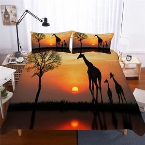 Image 1 - Bettwäsche Set 3D Druckte Duvet Abdeckung Bett Set Giraffe Startseite Textilien für Erwachsene Lebensechte Bettwäsche mit Kissenbezug # CJL04