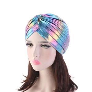 Image 2 - Women Glitter Turban Caps Muslim Head Rainbow India Cap Headwrap Chemo Hair Loss Hat Islamic Headscarf Bonnet Beanies