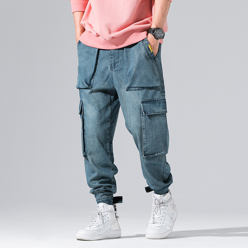 #2616 Black Blue Baggy   Jeans   With Side Pockets Hip Hop Designer   Jeans   Men Cargo High Quality Loose Harem Denim Pants Streetwear