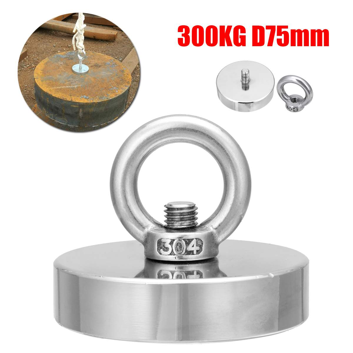 300 kg D75mm Starke Salvage Neodym Magnet Angeln Deap Meer Salvage Recovery Abrufen Schatz Jagd Magnet