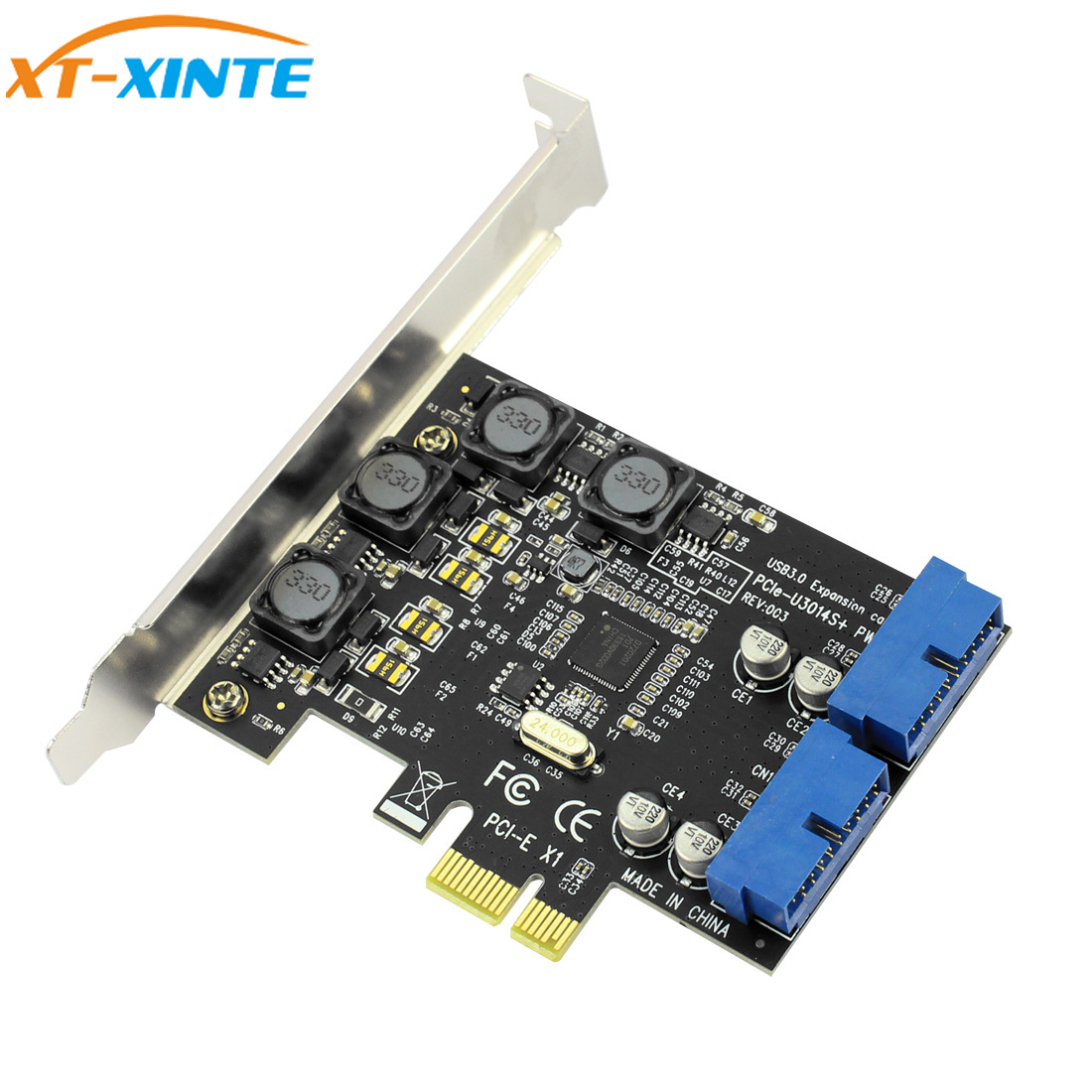 USB3.0 PCI-E Express X1 Expansion Card Front 3.0 HUB 19PIN Interface Adapter