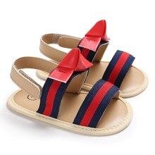 Pudcoco/Новые брендовые летние детские сандалии для маленьких девочек Нескользящие мягкие детские туфли в полоску