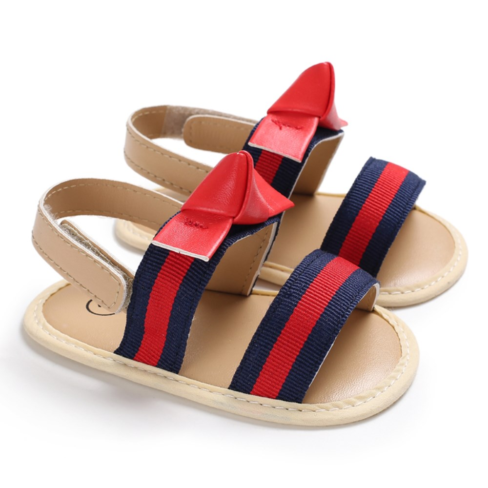 Pudcoco New Brand Summer Baby Girls Kids Sandals Stripe Anti-Slip Crib Shoes Soft Sole Prewalkers