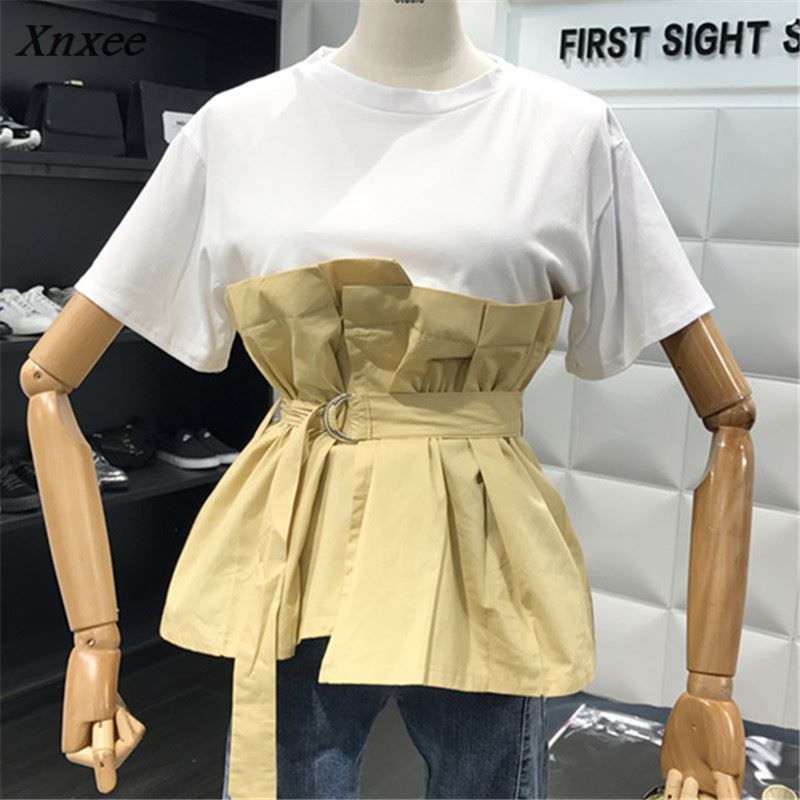 Xnxee 2018 Summer Newly Patchwork Fake Two Pieces T shirts Women Fashion Short Sleeve Sashes T shirt Slim Solid T-shirt 67497