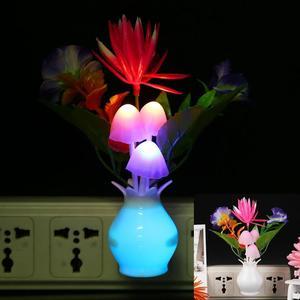 Image 3 - LED kolorowy kwiat lampka nocna lampa EU Plug Sensor dekoracja do domu i do sypialni kreatywna lampa biurkowa oświetlenie nocne
