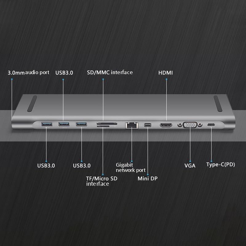 TTKK ULT BEST 10 en 1 3Usb Port type c Hub Station d'accueil prise en charge 3.5Mm Audio 4K x 2K Hdmi Vga Rj45 Lan Gigabit Sd/Tf carte lue - 5