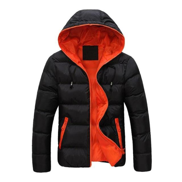 2019 Winter Cotton Warm Outwear Parka Winter Jacket Men Hooded Collar Coat Mens Warm Down Casual Coats with Zipper Pocket 3