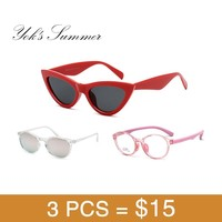 3 Pieces Set Red Triangular Cat Eye Sunglasses Ultralight Transparent Sun Glasses Pink Children TR90 Eyeglasses Frame $15 HN45