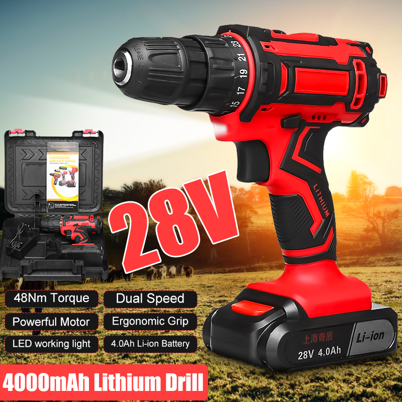 28V 48Nm Electric Drill Two Speed Lithium Battery Rechargeable Cordless Drill Multi function Electric Cordless Screwdriver