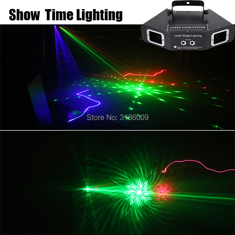 Freeshipping Dj Disco Laser Lighting Scaner Beam Pattern Laser Dmx Party Projector DJ Show KTV Scanner Club Stage Lighting A-X4