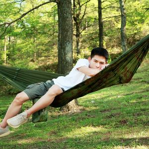 Image 3 - Promotion! Portable Camo High Strength Parachute Fabric Camping Hammock Hanging Bed With Mosquito Net Sleeping Hammock Camo