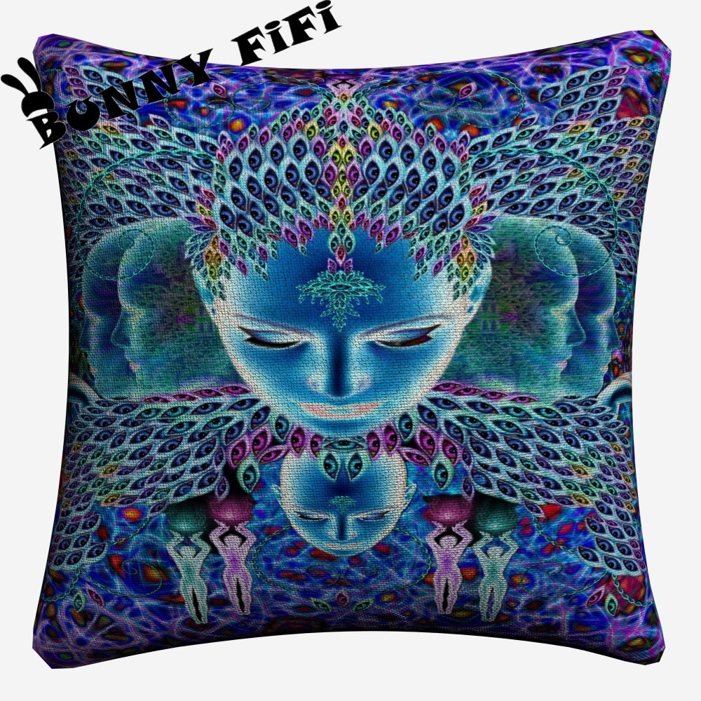 Psychedelic Face Acid lsd Decorative DIY Cotton Linen Cushion Cover 45x45cm For Sofa Chair Pillowcase Home Decor in Cushion Cover from Home Garden