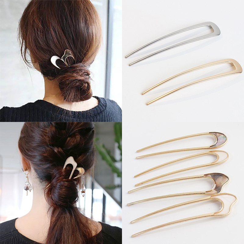1PC Hairpins Beige Silver Minimalis Golden Headwear Girls Wedding Alloy Hairclip Tools Bun Maker Unique Hair Sticks Conch Shell