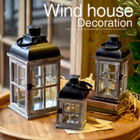 Moroccan Decor Retro Wood House Candlestick Europe Romantic Wedding Candle Holder Lantern Retro Pub Home Decoration Candle Stand
