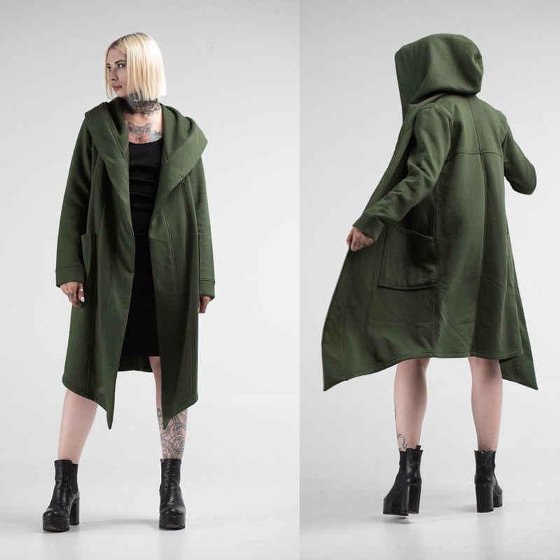 Unisex Casual Open Stitch Hooded Lange Mantel Cape Jas Mannen Vrouwen Solid Pocket Losse Klok Jas