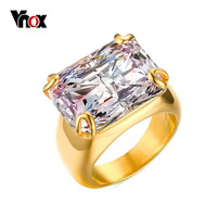 Vnox Luxury CZ Stone Ring for Women Square Zircon Rings Gold-color Stainless Steel