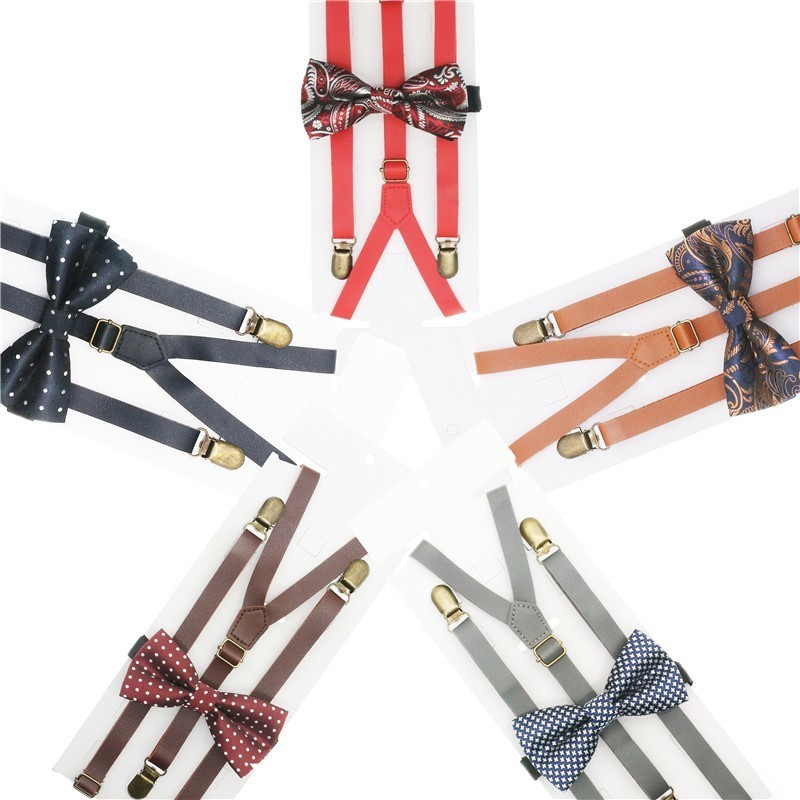 1.5cm Width Solid Braces Mens/women Pu Suspender Bowtie Set Knot Synthetic Leather Suspenders Y Back 3 Clips Wedding Party Wear