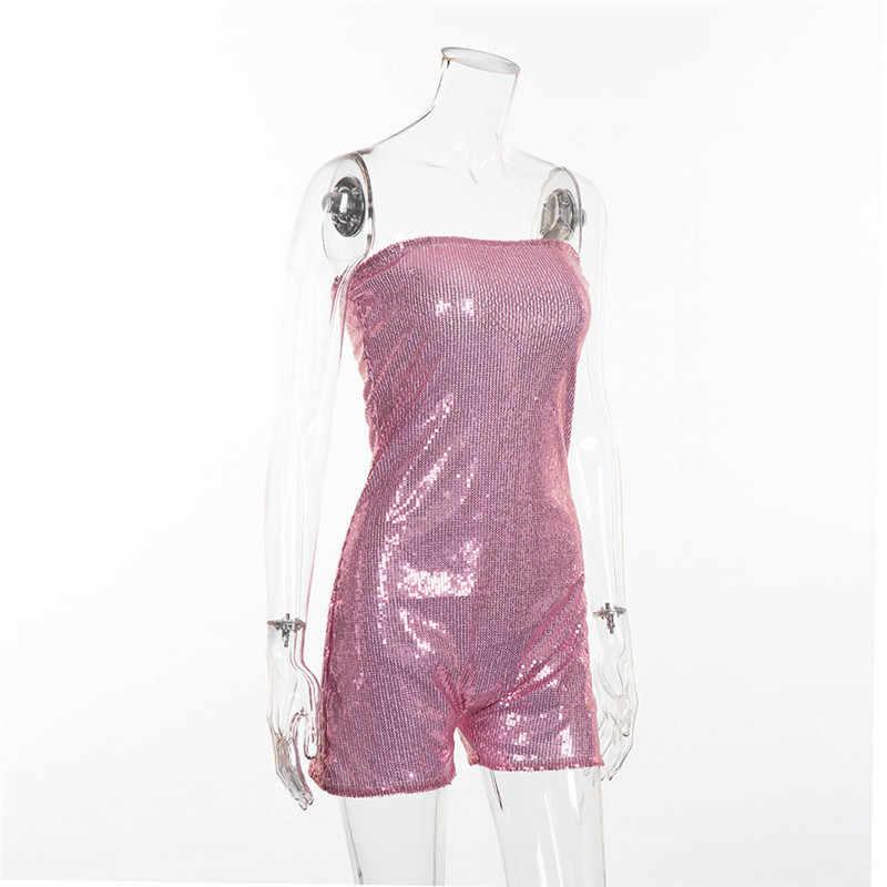 Glitter Rompertjes Vrouwen Jumpsuit Voor Vrouwen 2018 Sequin Strapless Playsuit KylieJenner 21st Verjaardag Party Outfit Totale Bodysuit