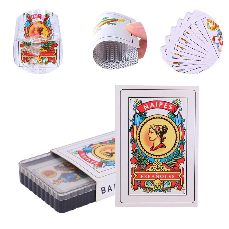50pcs Espanhol Cartões de Cartas de Baralho de Plástico À Prova D' Água Durável Presente Criativo Novo Jogo De Cartas De Poker De Plástico Jogando Cartas