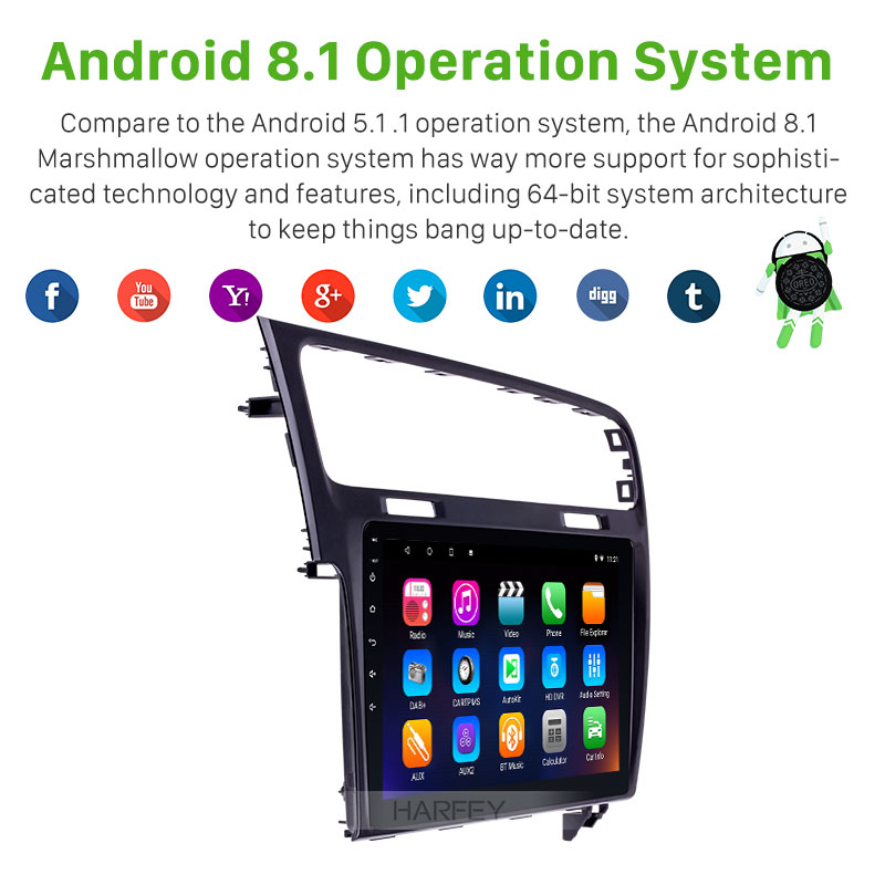 Harfey Android8.1 HD 2Din Car 10.1