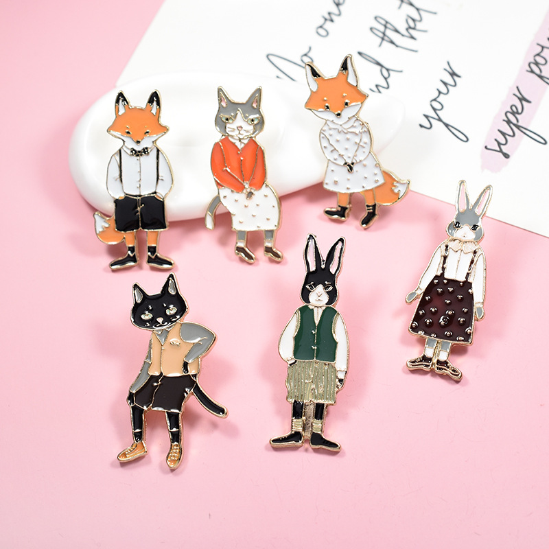 Hospitable Dhl Free Shipping,wholesale 200pcs Pins Brooches Rabbit Fox Cat Couple Enamel Pin Badges Hat Backpack Accessories Lover Gifts Jewelry Sets & More Jewelry & Accessories