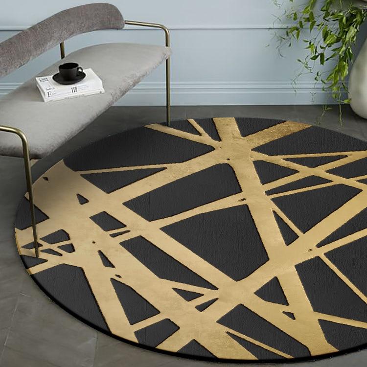 Modern Brief Black Background Golden Crossing Line Printed Round Carpet Diameter 60cm To 160cm Non slip Table Living Room Rug|Carpet| |  - title=