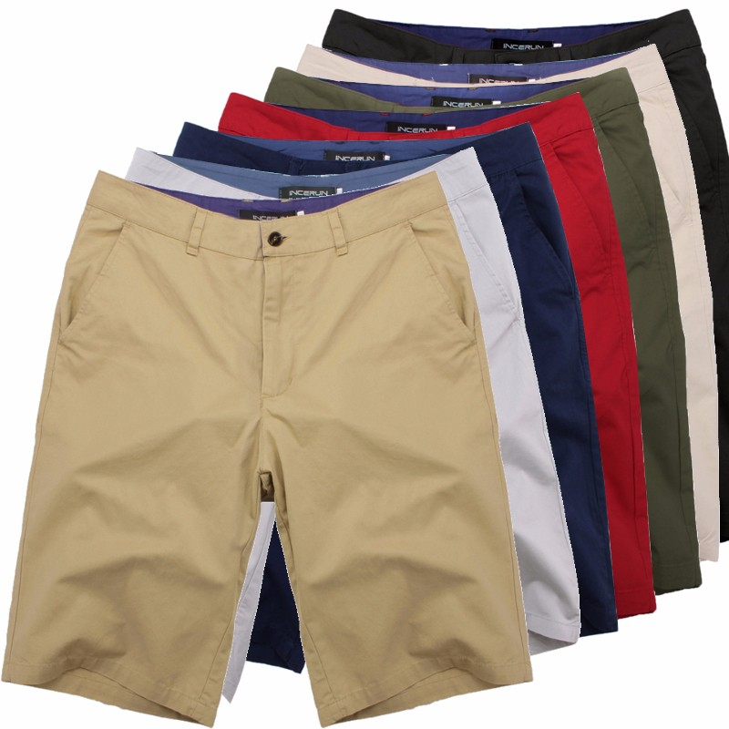 Men Shorts Chinos Knee-Length Vintage Large-Size Cotton Fashion Casual Big Masculina