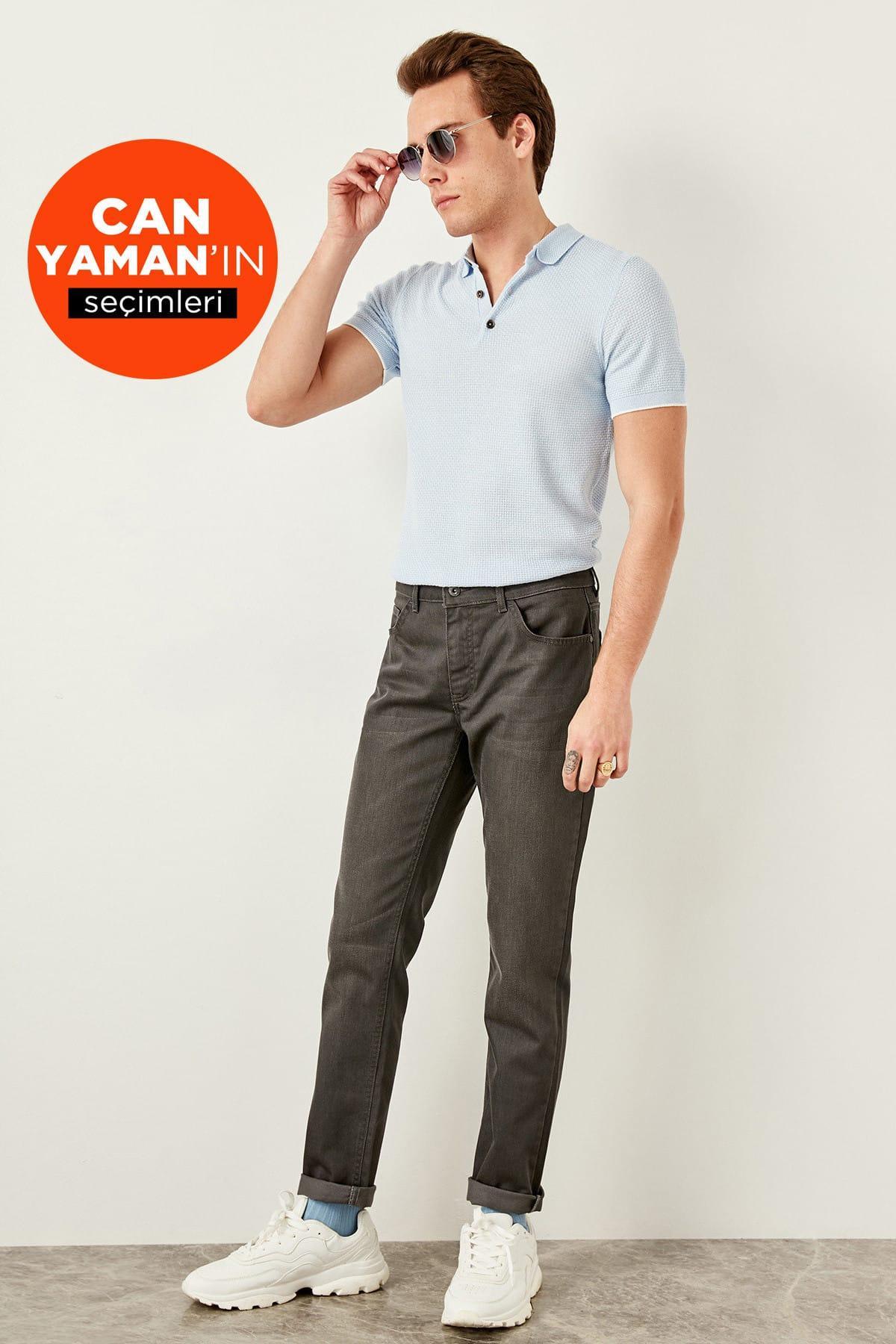 Women's Clothing Persevering Trendyol Man Anthracite Men Coated Jean-slim Fit Flexible Fabric Denim Pants Tmnss19oe0007 100% Original Jeans