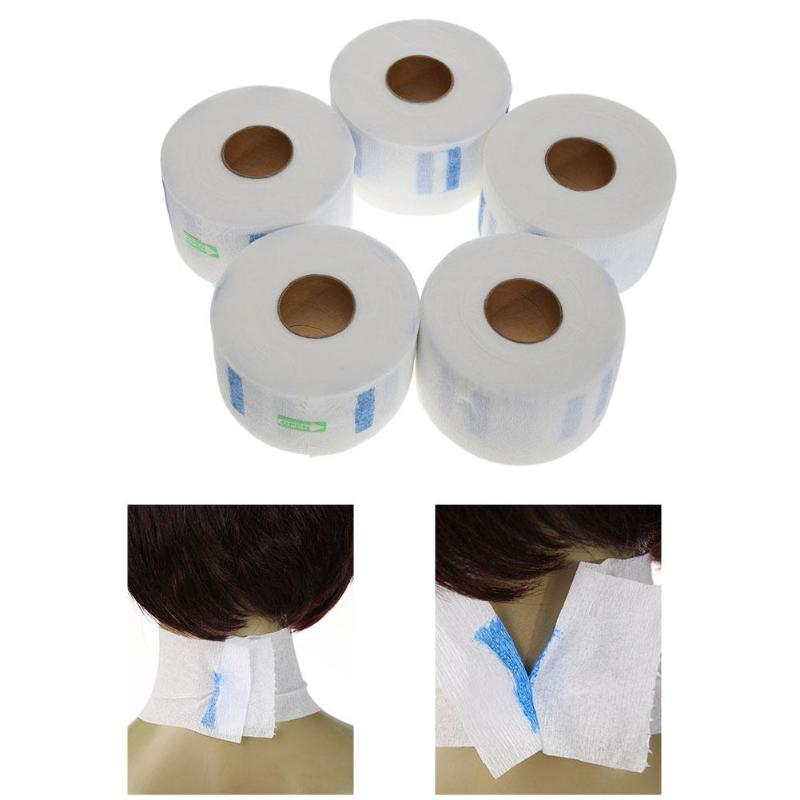 5pcs/set Professional Hair Cutting Salon Disposable Hairdressing Collar Neck Ruffle Roll Paper Necks Covering Accessory