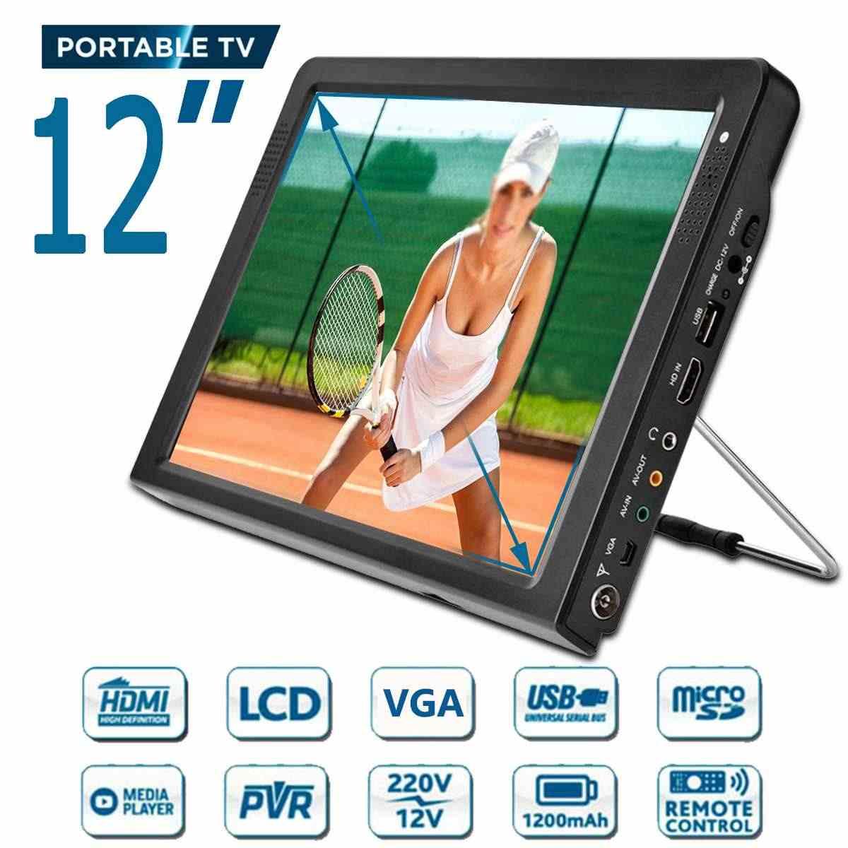 12 cali przenośny mini-cyfrowy kolorowy analogowy telewizor led DVB-T DVB-T2 akumulator odtwarzacz telewizyjny TFT-LED ekran ATSC/wejście hdmi