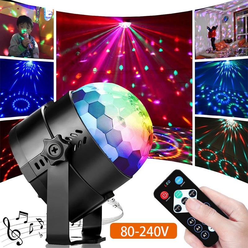 AC 80-240V IR Control Colorful Led Beam Stage Light Music Control Ktv Dj Disco Light Holiday New Year Christmas Light Kid's Gift